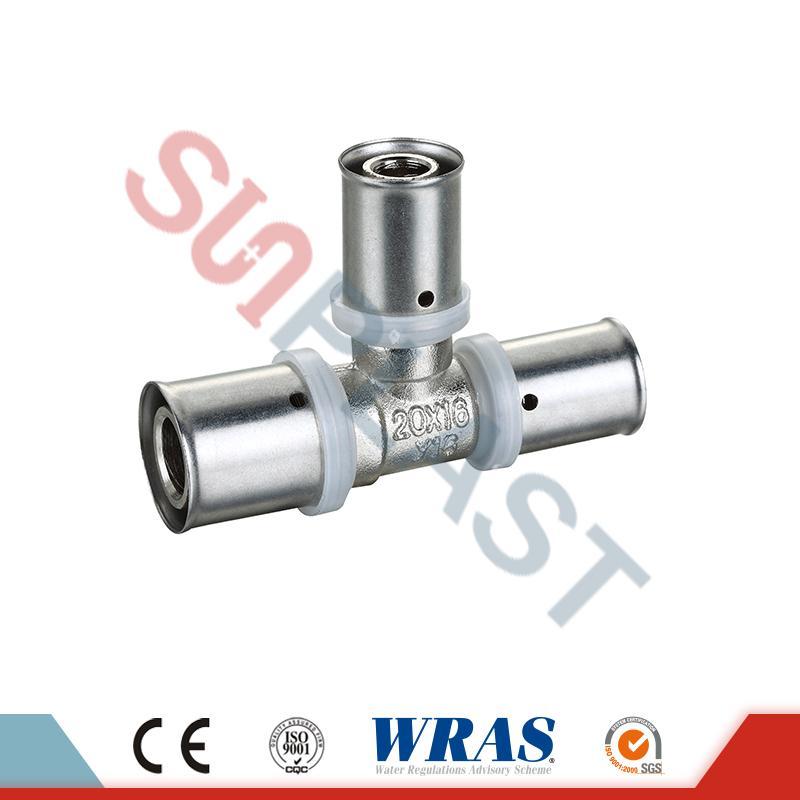 Brass Press Equal Tee PEX-AL-mitmekihilise PEX toru jaoks