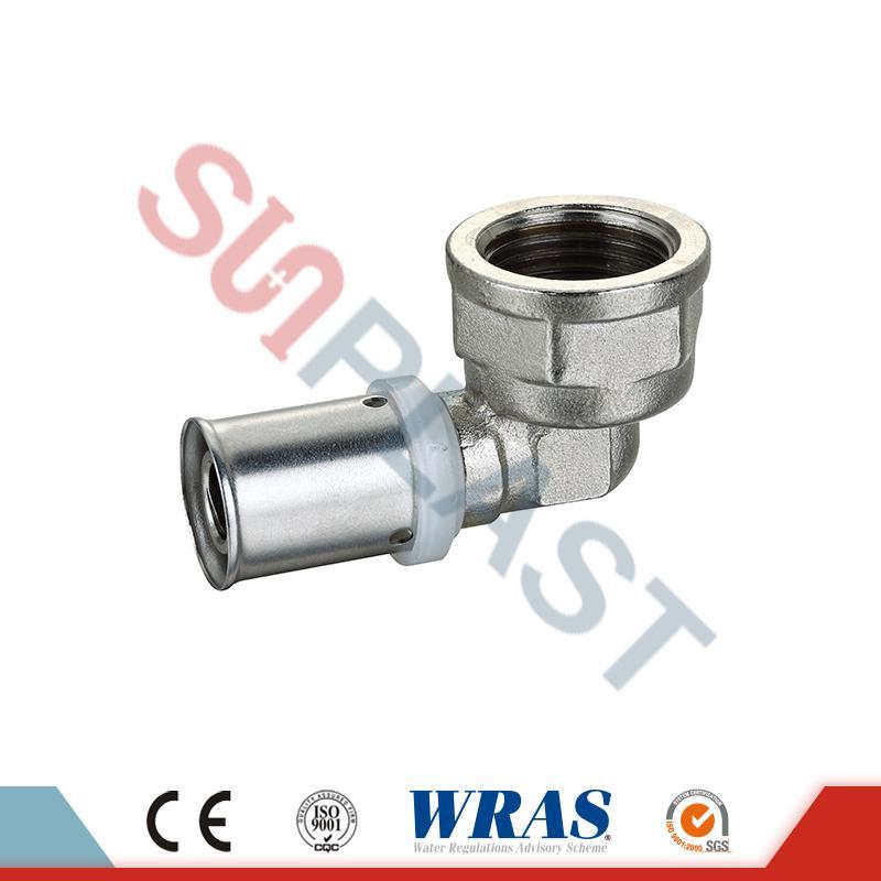 Brass Press Female Elbow PEX-AL-PEX mitmekihilise toru jaoks